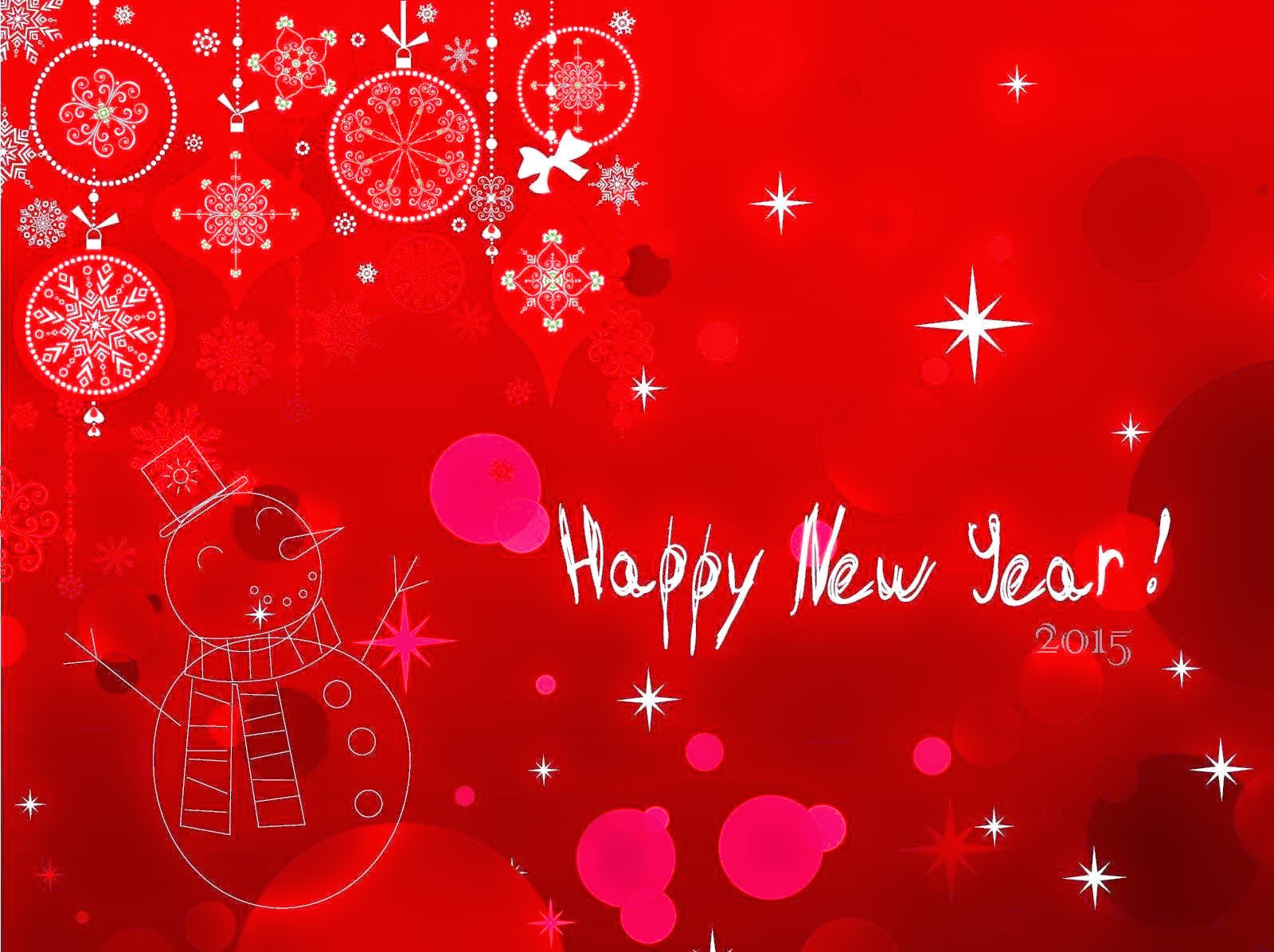 Snow Falling Red Art Happy New Year 2015 HD wallpapers free Download