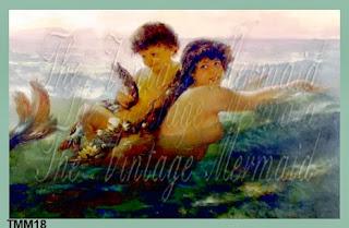 swimming merbaby mermaid fabric block by vintagemermaidsfabricblocks.com