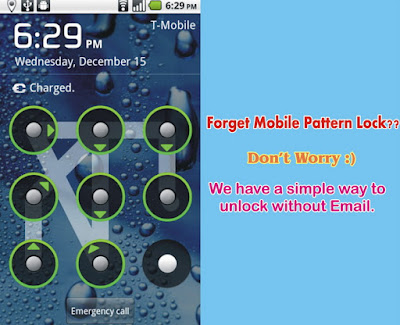 How to unlock or Reset your Android Mobile If you forget your Pattern Lock without Email
