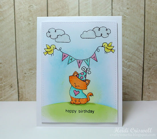 Cat with Party Banner Birthday Card by Heidi Criswell | stamps by Newton's Nook Designs