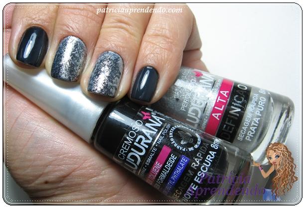 Esmaltes preto e prata combinados