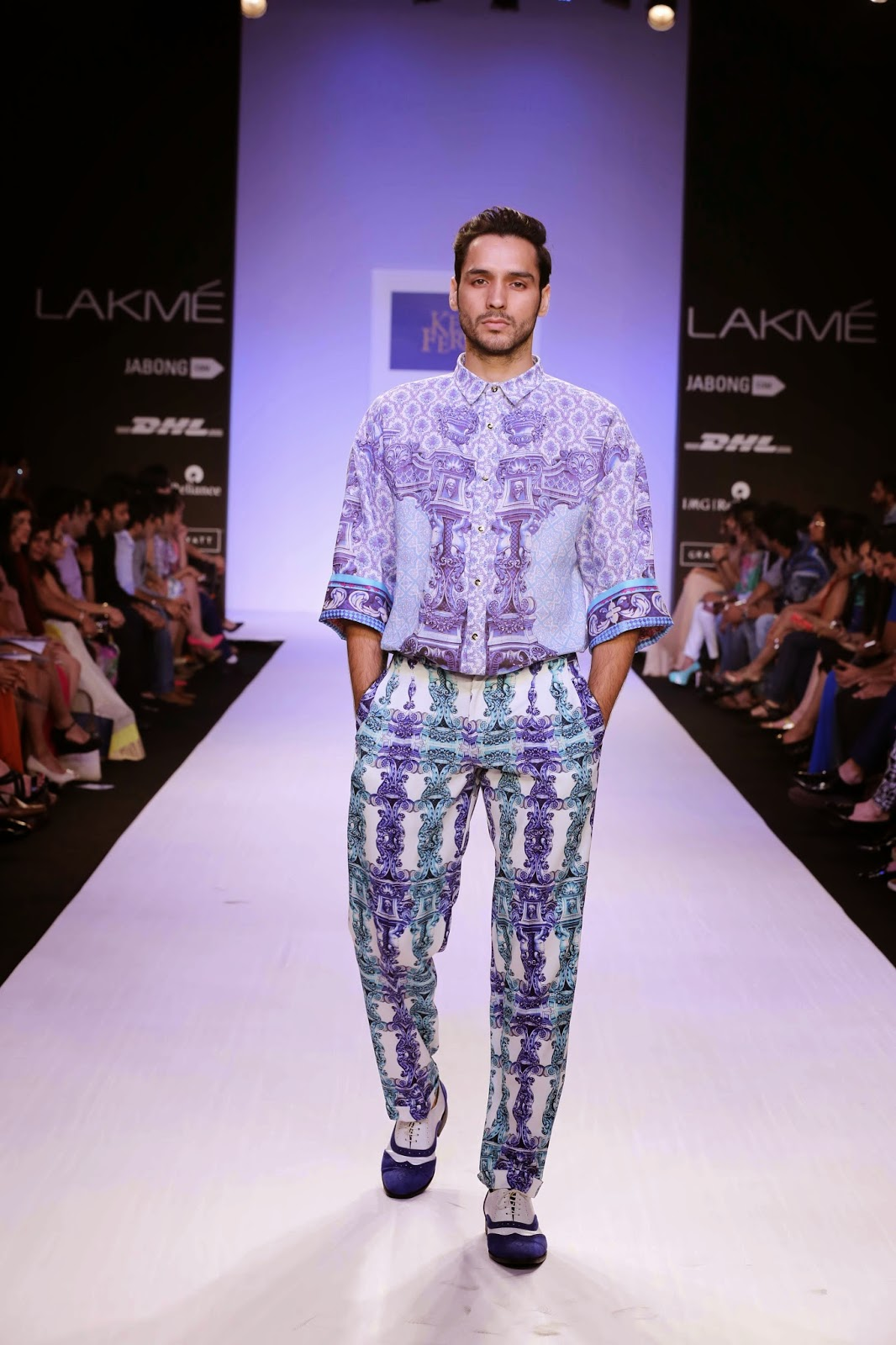 Ken Ferns has been inspired by unconventional themes in the past, so little wonder that this time it was interesting to note how the Golden Age of the Azulejos form of Portuguese art of painted ceramic tiles was the basis of his collection for Lakmé Fashion Week Summer/Resort 2014.