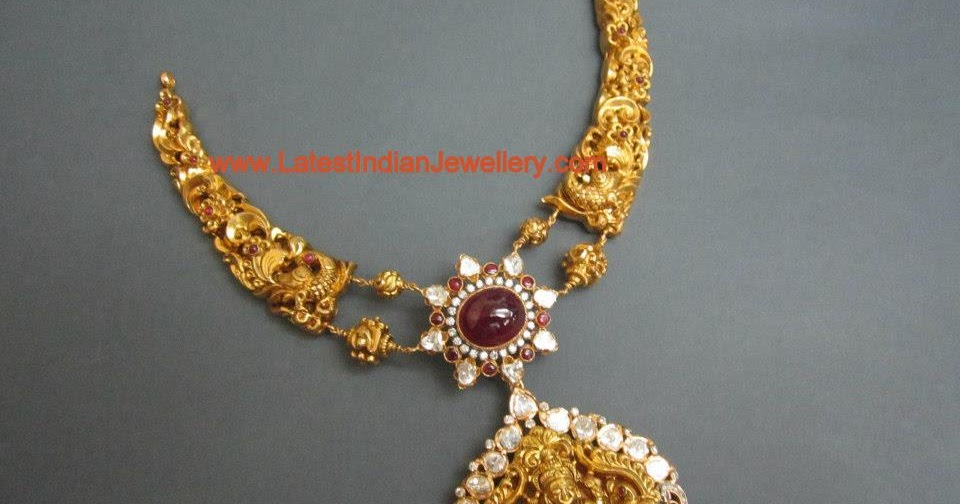 Designer 22 Karat Gold Temple Jewellery With Lakshmi Pendant