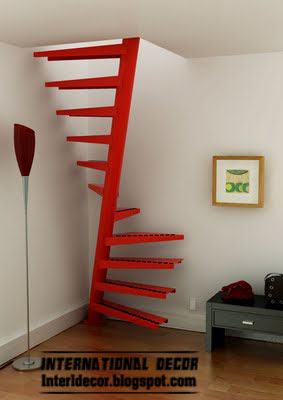 spiral staircase red interior stairs design red Round, spiral staircase, interior stairs designs