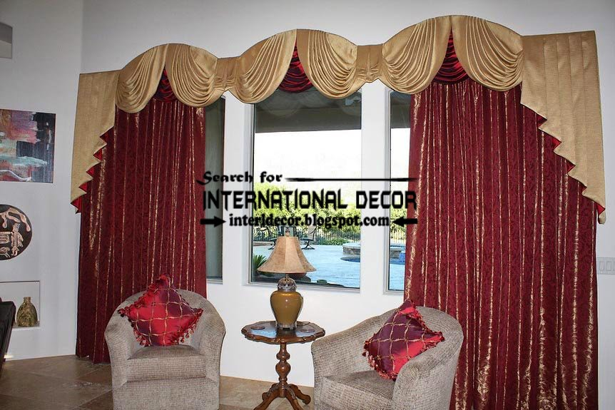 Unique burgundy curtain and gold drapery for living room, luxury living room curtains