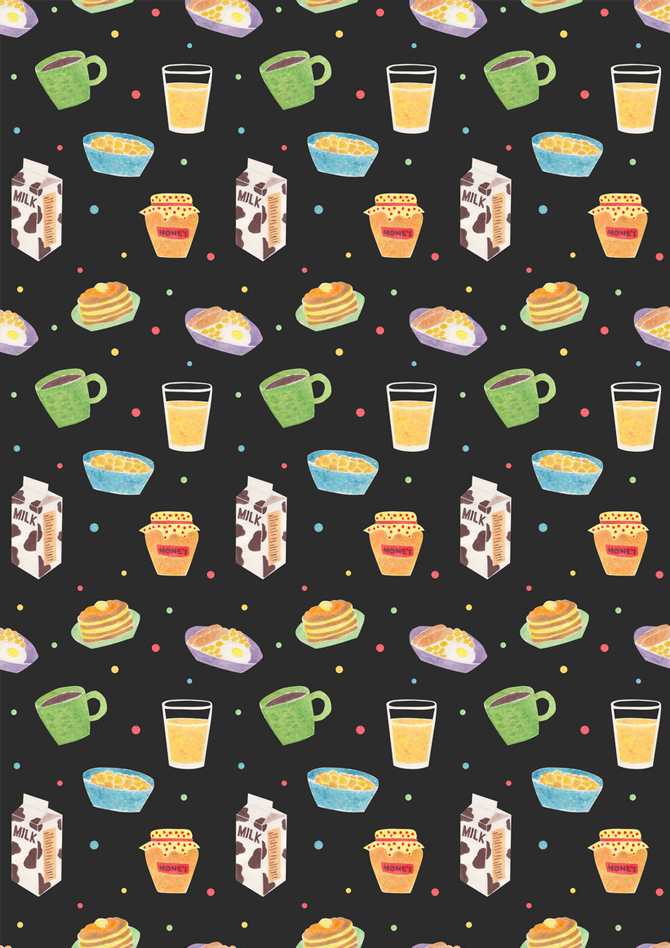 Yummy Breakfast Pattern Watercolor Illustration by Haidi Shabrina