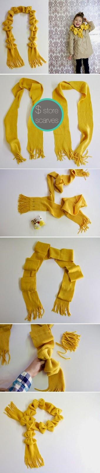 como customizar cachecol com lacinhos