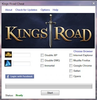 Kings Road Cheats can add you Gems and Gold. That working cheat to all browsers (IE, Opera, Safari, FireFox and Chrome).