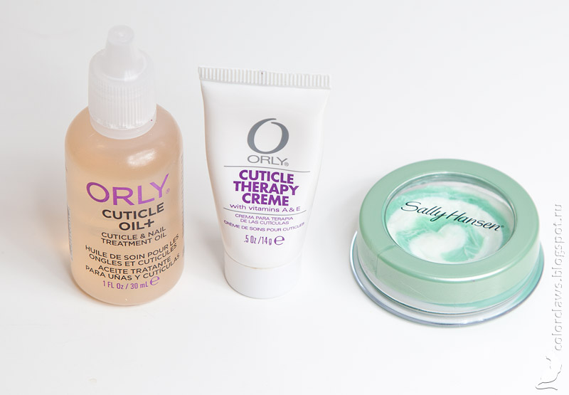 Orly Cuticle Oil+, Orly Cuticle Therapy Creme, Sally Hansen Cuticle Eraser + Balm
