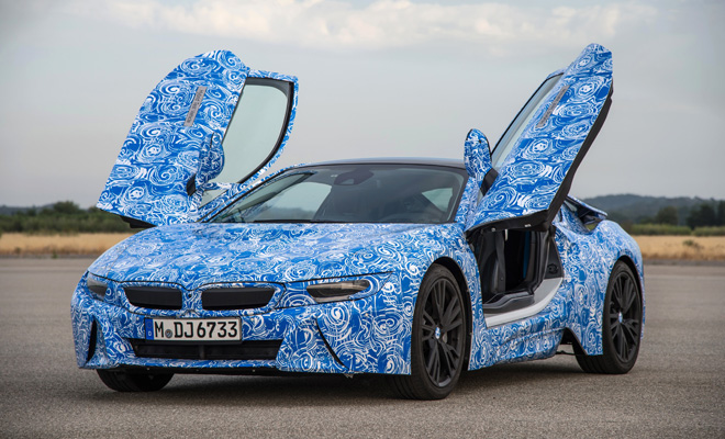 BMW i8 prototype with open gullwing doors