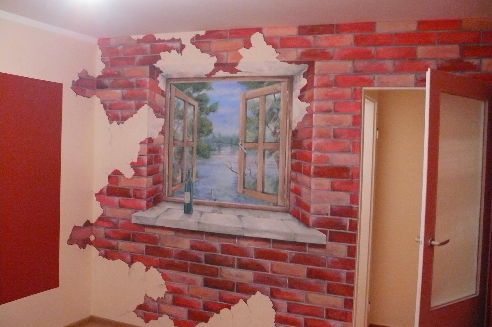 Artystyczne malowanie obrazu na ścianie przedstawiającego widok z okna. aranżacja ściany, Warszawa