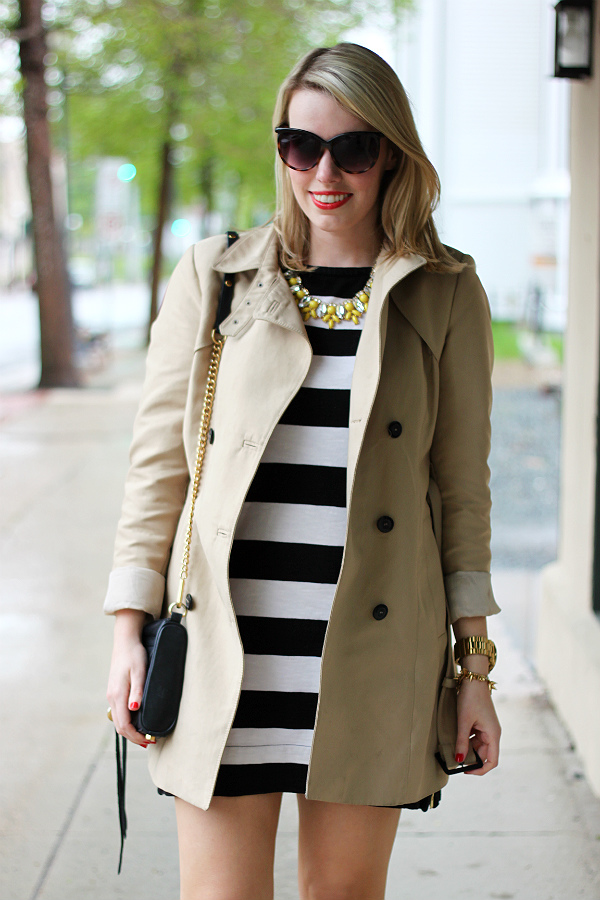 stripes and trench coat