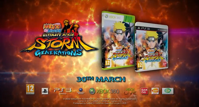 Naruto Shippuden Ultimate Ninja Storm Generations 2012 video game title for PS3 and XBox 360