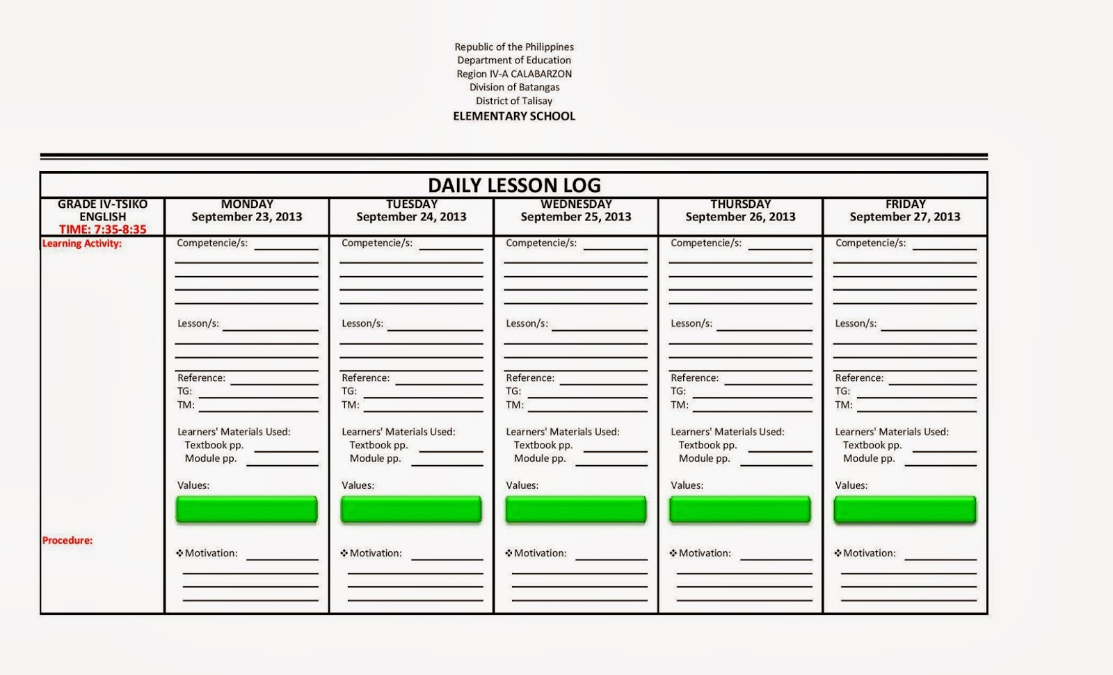 Excel Lesson Plan Template