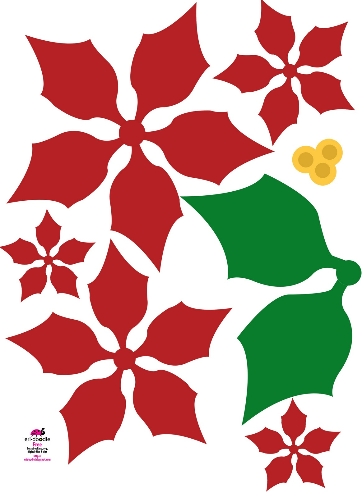 Eri doodle designs and creations make a paper christmas flower paper poinsettia christmas flower free download template mightylinksfo