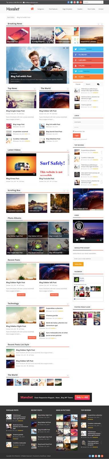 Manshet – Retina Responsive WordPress News, Magazine Theme