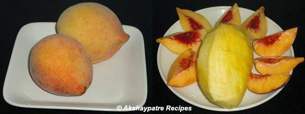 wash the mango and peach, peel the mango