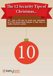 Tip 10 of Keytek 24 hour Locksmiths The 12 Security Tips of Christmas UV pen marking