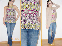 Outfit Floral Aztec Tribal: Blue Jeans, Flower Top & Lime Green Sandals