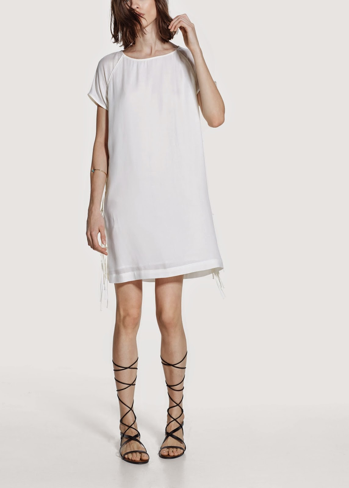 mango white tassel dress