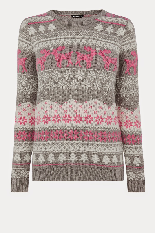 pink reindeer jumper,