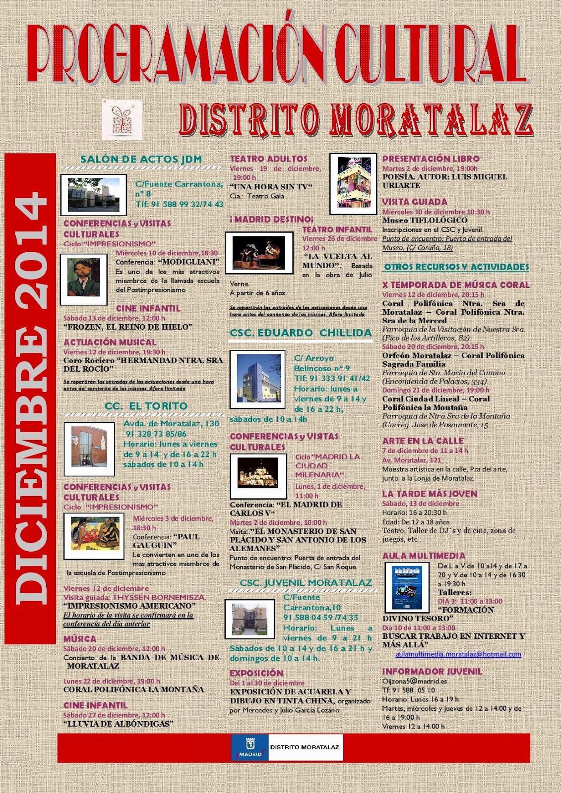 Programación cultural del distrito de Moratalaz. Diciembre de 2014
