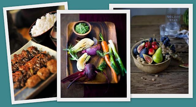 panel concepto de comida - comida oriental y natural