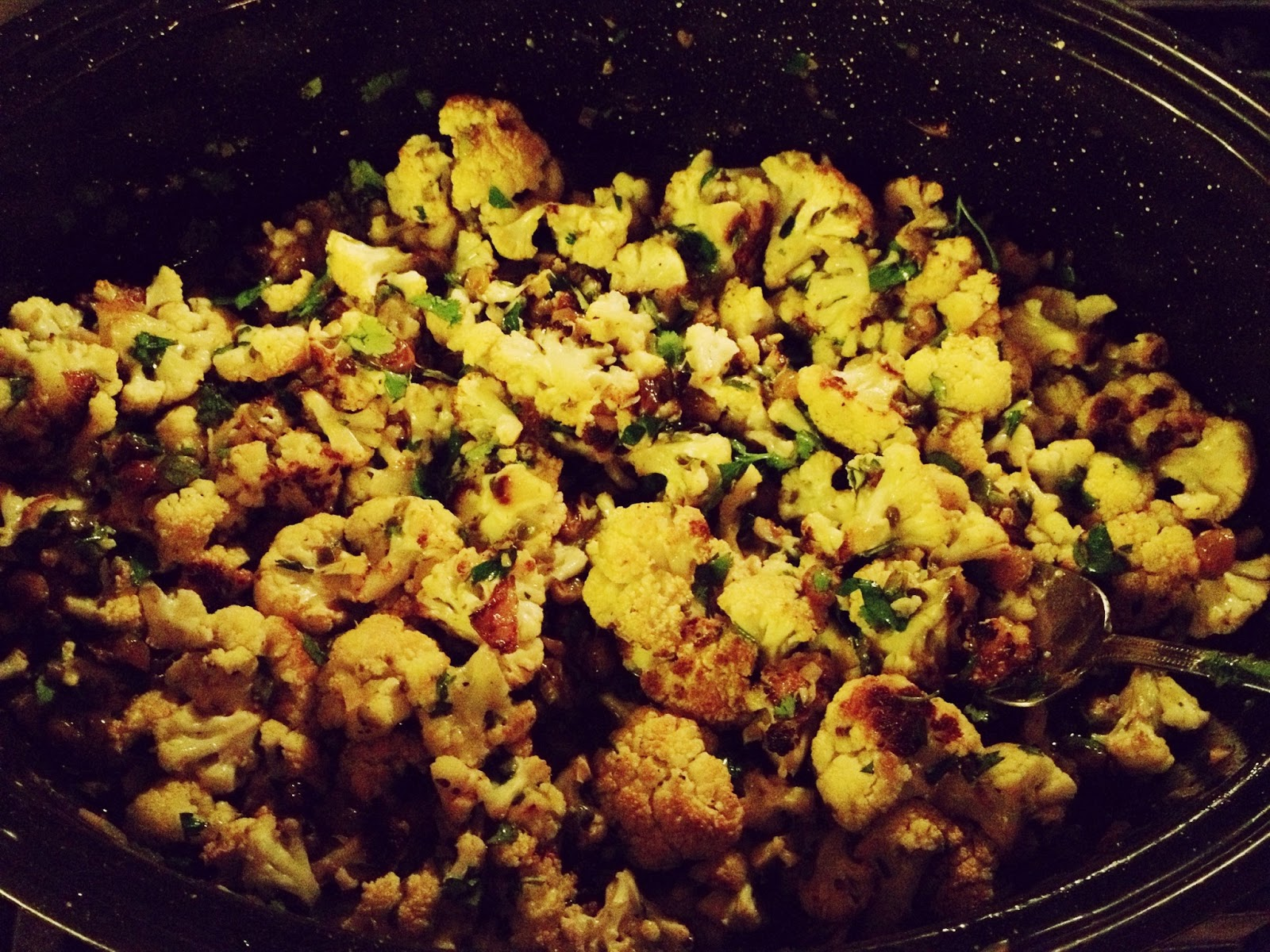 The Lush Chef: Roasted Cauliflower with Golden Raisins ...