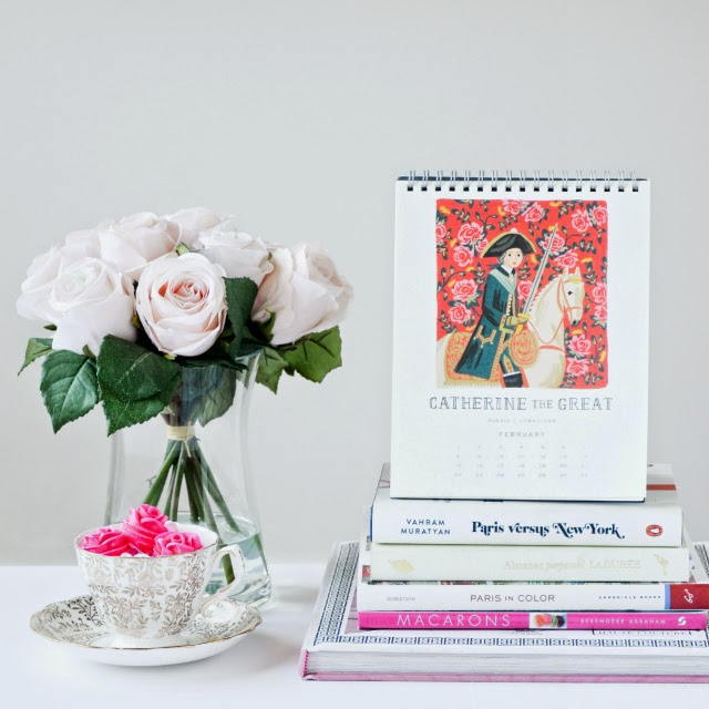 Rifle paper co Monarcs calendar, with blush roses and sugar roses in a vintage gold tea cup