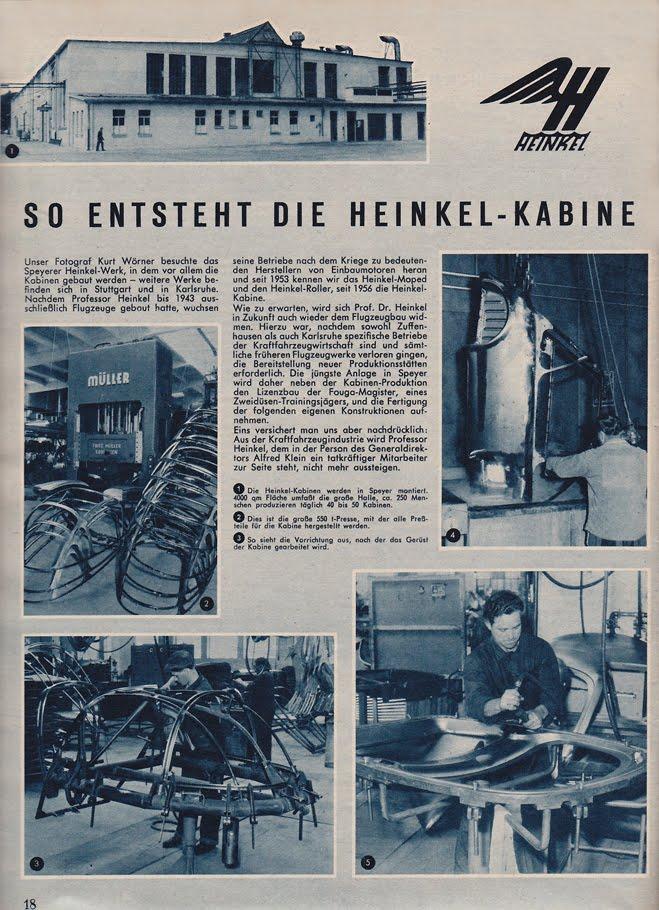 Heinkel Cars  Kabines And Cabin Scooters  Inside The Heinkel Factory
