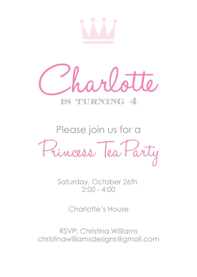 christina williams Princess Tea Party – Princess Tea Party Invitation