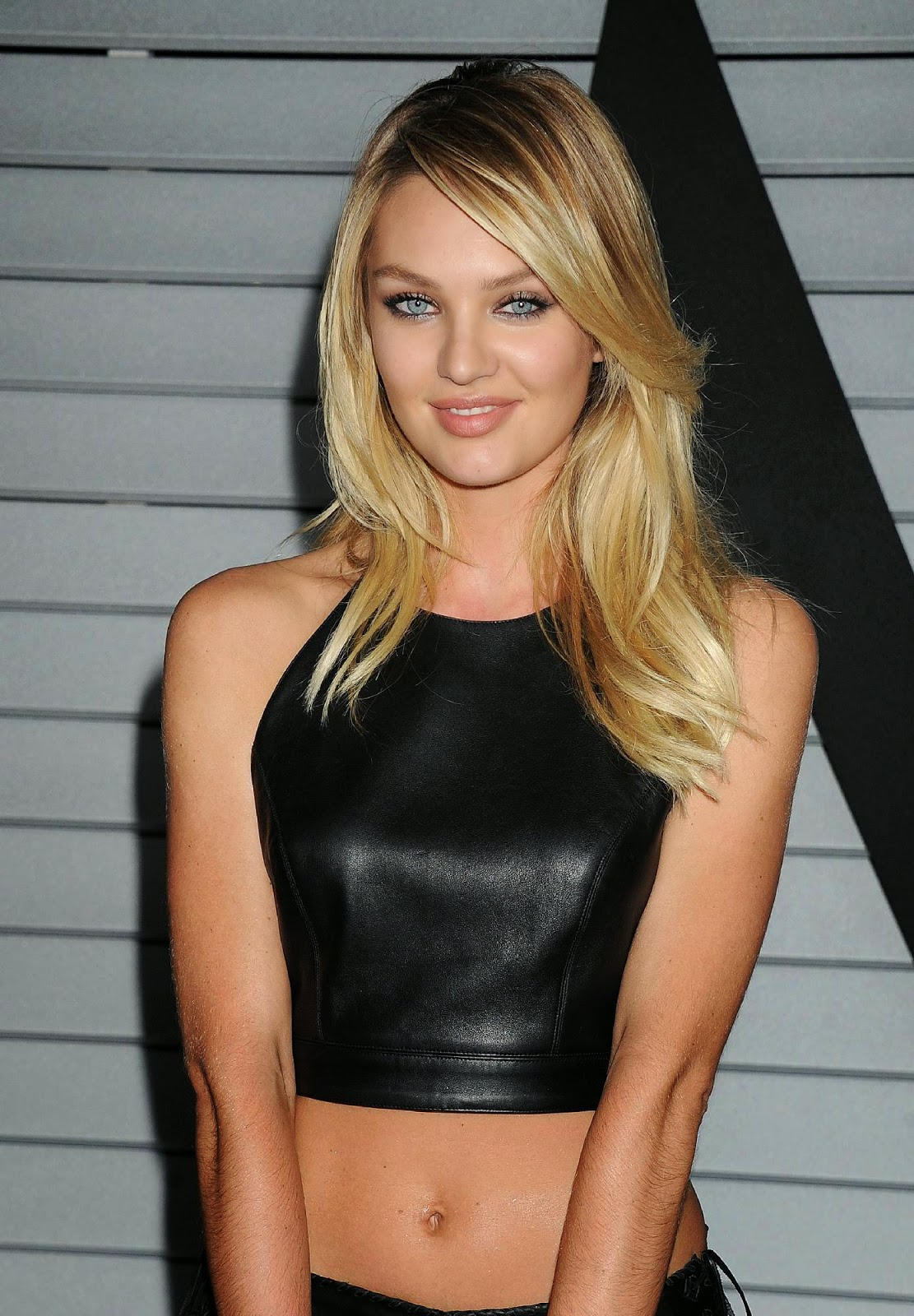 Candice Swanepoel Hot Celebrity in Sexy Black Leather Jeans and Top