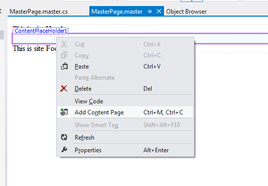 Add Content Page in vs 2012