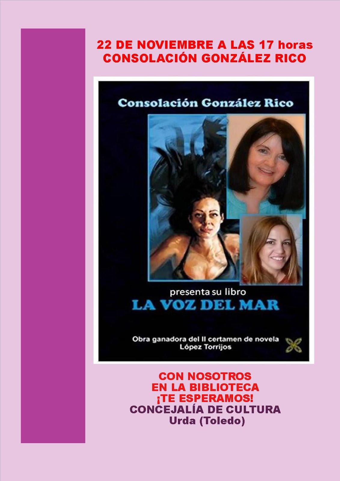 22 de NOVIEMBRE, miércoles, 17:00 horas CONSOLACIÓN GONZÁLEZ RICO EN LA BIBLIOTECA ¡TE ESPERAMOS!