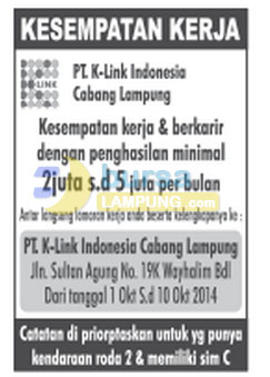 Lowongan Kerja PT. K-LINK Indonesia