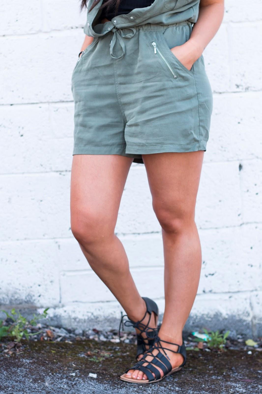 OOTD Summer Outfit Khacki Playsuit Statement Necklace Kayley Anne Jones