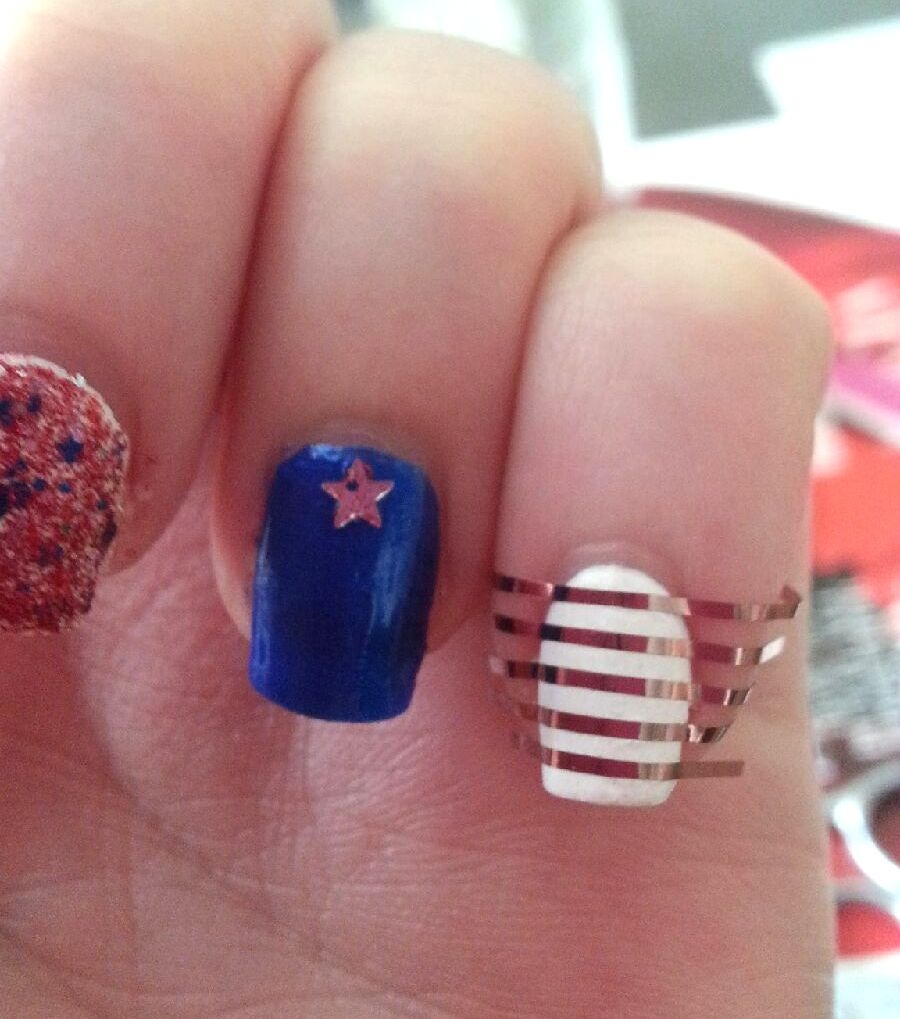 Nail Polish On Pinky Finger Meaning: Very Enchanting: Easy Patriotic Nails