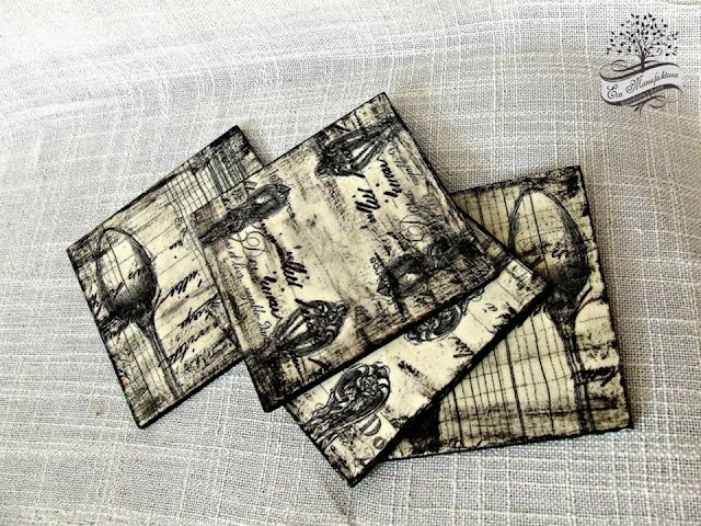 podkładki pod kubki decoupage w stylu vintage Eco Manufaktura