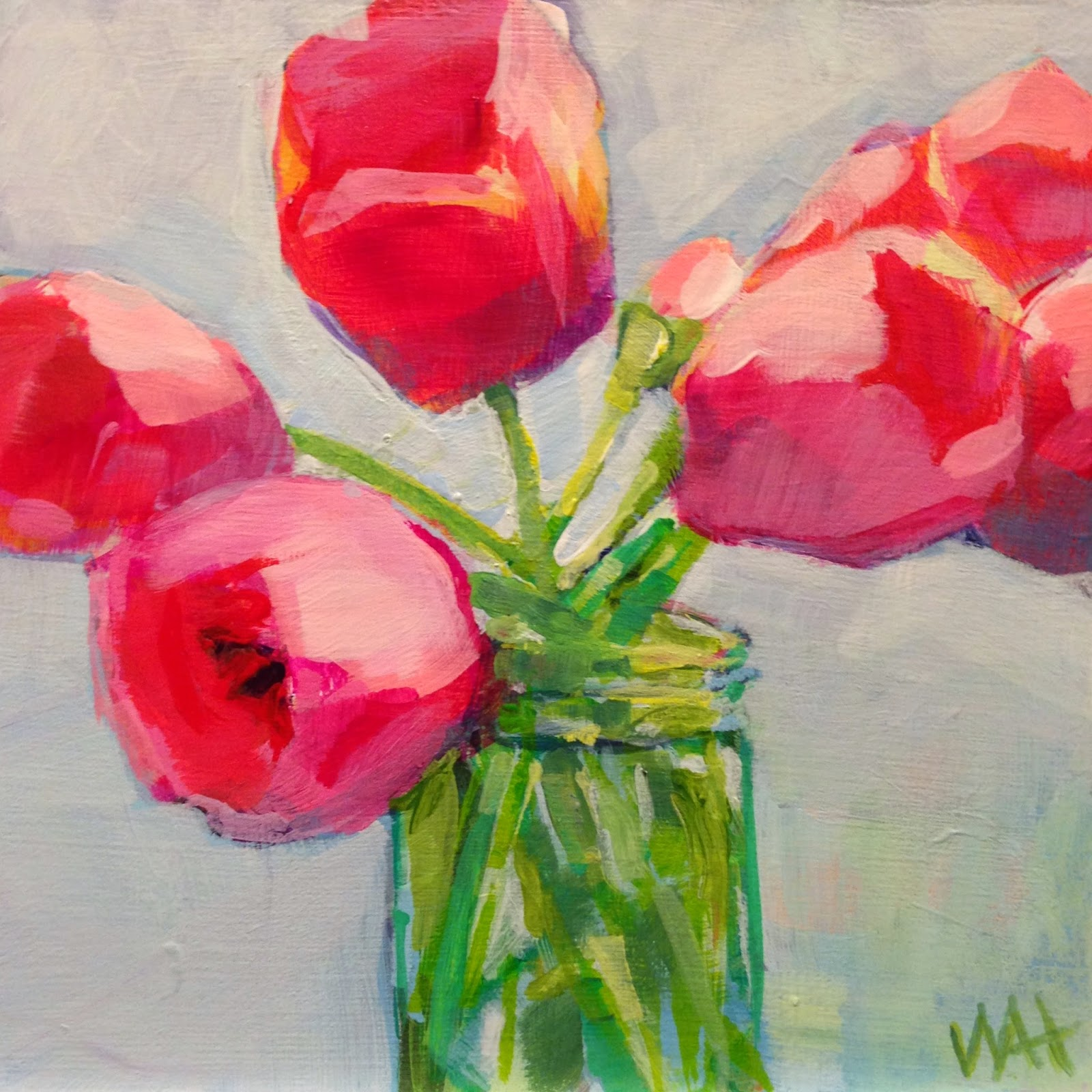 Floral Painting by Daily Painter,  Whitney Heavey, Red, Pink, Tulips