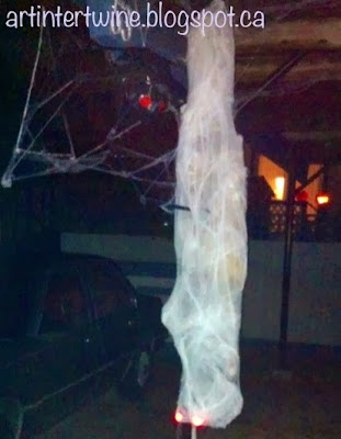 Art Intertwine - Homemade Spider and Victim Halloween Decor