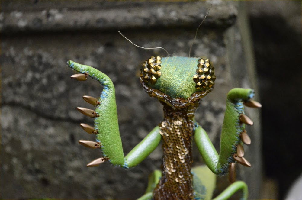 praying mantis fabric sculpture