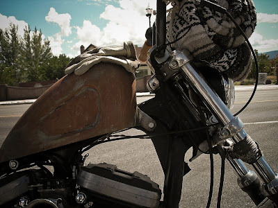 rusted bobber tank motorcycle