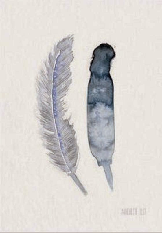 Theclayplay_akvarel_watercolour_fjer_feather_shop artworks online hos House of Bæk & Kvist