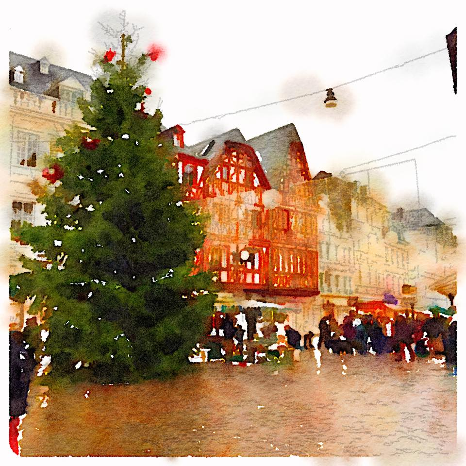 Christmas market trier watercolor painting