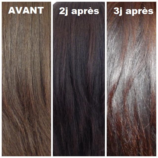 donc comme vous pouvez le voir mes cheveux qui taient au dpart chtain fonc et surtout terne avaient une couleur trs brune 2 jours aprs avec des - Coloration Henn Chatain