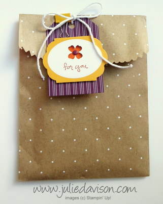Stampin Up! Notecard Gift Bag with Itty Bitty Accents Punch Pack