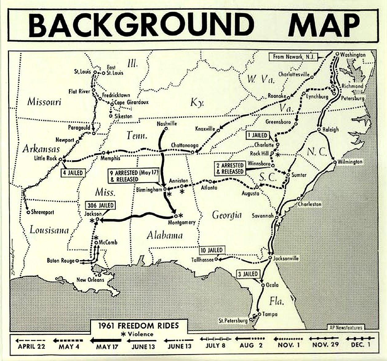 Freedom Rides Background Background Map 1961 Freedom