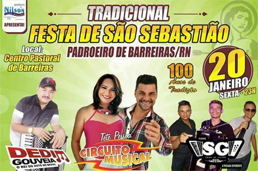TRADICIONAL FESTA DE S. SEBASTIÃO - DIA 20-1-17 PRAIA DE BARREIRA - MACAU RN