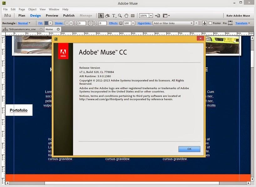 Tampilan Adobe Muse 7