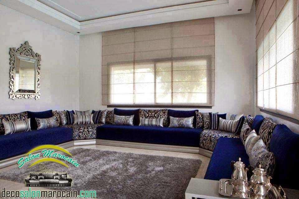 Salon marocain bleu argent haute gamme decoration marocaine for Decoration salon argente